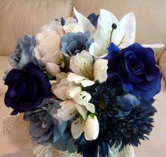 White And Navy Blue Wedding Bouquet