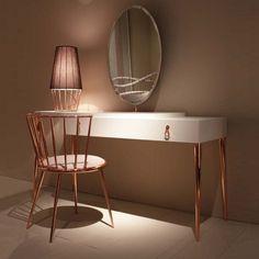 city schminktisch kupfer füße weiß spiegel schublade design cantori