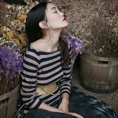 Striped beauty @_ofresia #photo and #concept @marcelabantea #beauty #raptusandrose #dress @angela_xu__ #model