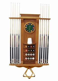 Ball and cue racks 75185 billiard decor set of 6 art prints 10 cue stick and pool ball wall rack with clock oak malvernweather Gallery