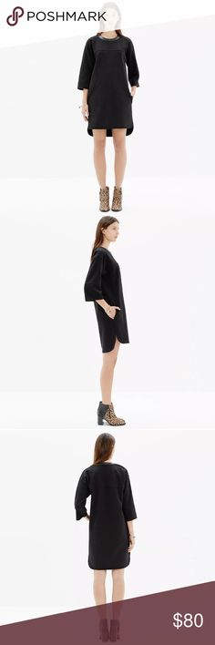 """Madewell Leather Trim Pique Ponte Dress Black $128 Madewell Leather Trim Pique Ponte Shift Dress Solid Black Sz M  Product Details A definite statement that's as easy to wear as a sweatshirt. This dress is special in every way, from its architectural shape to its shoulder zips and leather-trimmed collar.   True to size, nonwaisted. Falls 35 1/2"""" from shoulder. Cotton/nylon with a hint of stretch, leather trim. Pockets. Dry clean. Import. armpit to armpit- 23"""" length- 34""""-36"""" Madewell Dresses"""