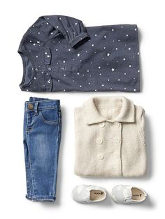 Gap Baby Girls Outfit  Star Dress, Sweater Coat, Skinny Jeans