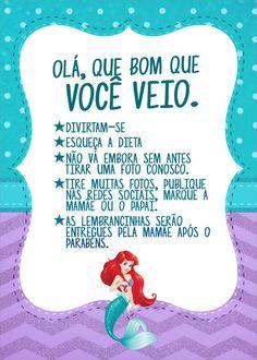 Cartão Agradecimento Quadro Kit Festa Pequena Sereia Mermaid Wallpapers, Mermaid Tale, Malu, Baby Shark, 5th Birthday, Coloring Pages, Lettering, Disney Princess, Maria Alice
