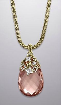Weddings by EPI - Weddings by EPI David Yurman necklace in gold, faceted morganite, pave diamonds Pink Jewelry, Gemstone Jewelry, Jewelry Box, Vintage Jewelry, Jewelry Necklaces, Jewellery, Jewelry 2014, Bling Bling, Diamond Are A Girls Best Friend