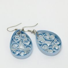 Sky Blue and White Tear Drop earrings ; quilled earrings; white earrings; multi colored earrings; beehive earrings; teen and preteen