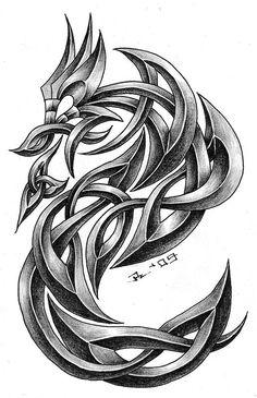 dragon in celtic style. i'm very satisfied inspiration - tattoo studio zagreb - zele celtic dragon 2 Celtic Tattoos For Men, Celtic Dragon Tattoos, Irish Tattoos, Tattoo Celtic, Dragon Tattoos For Men, Butterfly Tattoo Designs, Dragon Tattoo Designs, Dragon Tattoo Images, Celtic Symbols