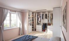 Fesselnd Begehbare Ankleide Nach Maß Im Schlafzimmer Im Weißen Dekor
