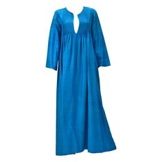 1970's Ethnic Blue Silk Caftan from Marti   | From a collection of rare vintage day dresses at https://www.1stdibs.com/fashion/clothing/day-dresses/