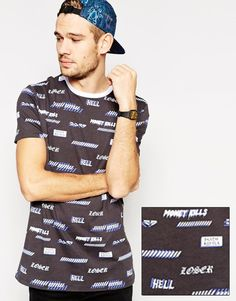 ASOS+Longline+T-Shirt+With+All+Over+Metal+Print+And+Skater+Fit