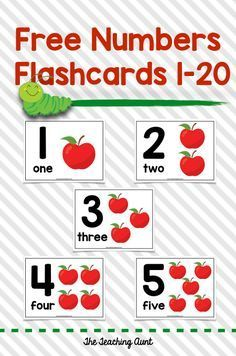 Numbers Flashcards 1-20 - The Teaching Aunt Teaching Numbers, Numbers Preschool, Preschool Printables, Free Printables, Educational Activities For Kids, Preschool Learning, Learning Activities, Teaching Resources, Preschool Alphabet