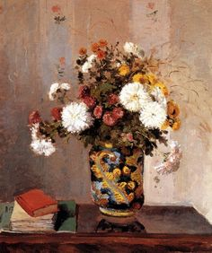 Chrysanthemums In a Chinese Vase - Camille Pissarro -