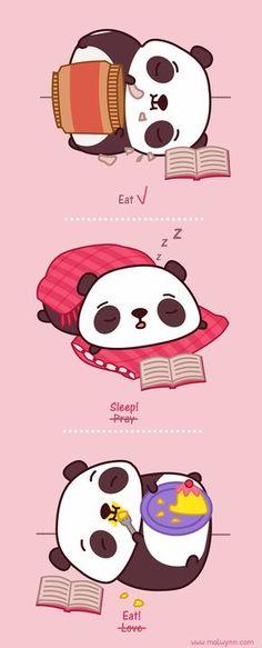 Eat, Sleep, Eat Cute Panda Drawing, Drawing For Kids, Panda Love, Red Panda, Panda Wallpapers, Cute Wallpapers, Panda Kawaii, Animals And Pets, Cute Animals