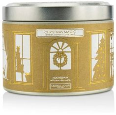 The Candle Company Tin Can 100 Beeswax Candle with Wooden Wick - Christmas Magic (Amber, Saffron & Patchouli) #space#joyful#living