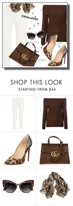 """""""Snow Leopard"""" by paperdolldesigner ❤ liked on Polyvore featuring Acne Studios, Dorothy Perkins, Christian Louboutin, Gucci, STELLA McCARTNEY and Black"""