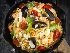 dish of seafood spaghetti