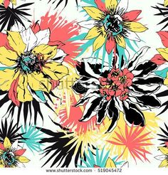 Tropical vector floral seamless pattern with exotic flowers passiflora, cactus. Fabric texture design for summer clothing, bikini prints. Hand drawn watercolor botanical illustration. Bali, Thailand.