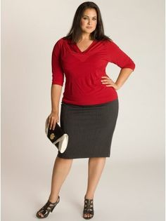Michaela Curvy Plus Size Pencil skirt in Charcoal - Work Wear Collection by IGIGI