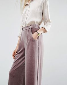 Image 3 of ASOS Velvet Slouch Wide Leg Trousers                                                                                                                                                                                 More