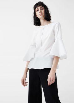 Ruffle cotton blouse | MANGO