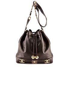 Chanel Leather Bucket Bag. #chanel #leather #bucketbag