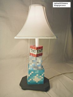 Custom Minecraft Lamp- Hand Painted! Perfect for any kid/tween/teen and just in time for Christmas. On Etsy