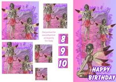 Little girls birthday card with fairies on, aged 8, 9 or 10, or any age really, just add your own number.  Very easy to make decoupage style in pretty pinks and lilac. Girl Birthday Cards, Little Girl Birthday, Little Girls, Elfen, Craft Items, Pretty In Pink, Lilac, Fairies, Decoupage