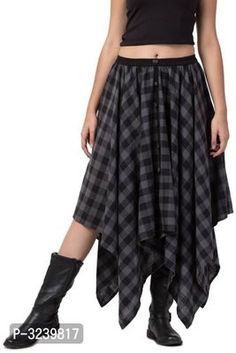Checkered Grey Party Wear Long Skirts for Women made of Cotton Long Skirts For Women, Short Skirts, Formal Shirts, Casual Shirts, Ethnic Gown, Western Wear For Women, Fashion Gallery, Jumpsuit Dress, Green Cotton