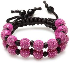 Dazzlingrock Beaded Crystal Bracelet Pave Mens Ladies Unisex Hip Hop Style Seven Hot Pink Disco Ball 12mm Bead Two Row Unisex Adjustable