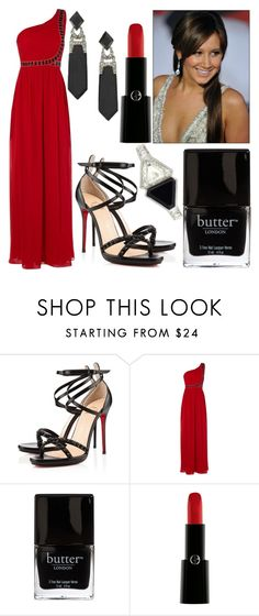 """""""20 43 Critics Choice Awards"""" by bellalo ❤ liked on Polyvore featuring Christian Louboutin, Jane Norman, Butter London and Giorgio Armani"""