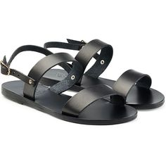 Ancient Greek Sandals Flat Leather Sandals (€109) ❤ liked on Polyvore featuring shoes, sandals, zapatos, flats, black, black sandals, flat sandals, kohl shoes, leather footwear and black shoes