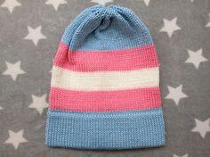 Knit Pride Hat  Trans Pride  Slouchy Beanie