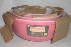 Htf unused vintage pyrex pink-4 piece bowl set glossy & bright - perfect