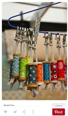 Pour recycler ses bobines de fils : porte clefs de couturière !