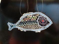 Bobbin lace fish by Amanda from Michigan USA