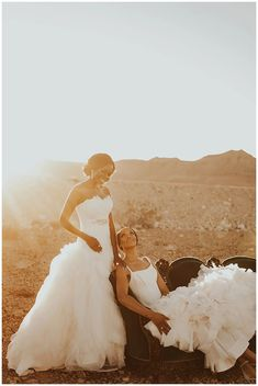 Romantic lesbian wedding photo | Two brides same sex marriage | Utterly Romantic Las Vegas Desert Elopement Inspo - Love Inc. Mag -JAMIE Y PHOTOGRAPHY Lesbian Wedding Photos, Romantic Wedding Photos, Romantic Updo, Two Brides, Minimal Decor, Bride Look, Equality, Love Story, Las Vegas