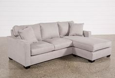 Egan II Cement Sofa With Reversible Chaise Cozy Living Rooms, Home Living Room, Living Room Furniture, Living Room Decor, Bedroom Decor, Living Spaces, Apartment Living, Bedroom Ideas, Sectional Sofa With Chaise