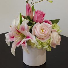 silk rose buds and lilly arrangements | Light Pink Stargazer Lily ...