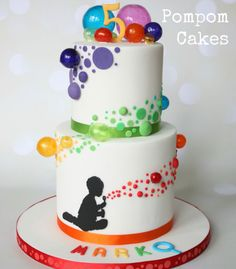 A cake for my little nephew who had a bubble party for his birthday; the silhouette is of him sitting on the floor blowing bubbles. The design was inspired by a few cakes Ive seen especially by High Five Cakes and Kalli Cakes and I looked at a. Bubble Cake, Bubble Party, Bubble Birthday, Summer Birthday, Birthday Cake, Logo Patisserie, Balloon Cake, Summer Cakes, Novelty Cakes