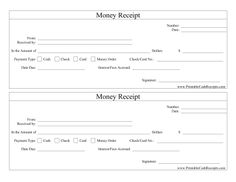 Perfect for any occasion as a general receipt for payment of any type, this money receipt covers cash, check, card and money order. Free to download and print