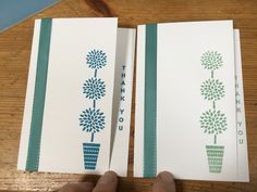Stampin Up vertical greetings stamp set, using mint macaron and Pacific point ink. Sliced a centimetre of the edge of the small greetings card to add the sentiment down the side. Lost lagoon ribbon on each.