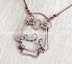 Owl Necklace. Oxidized Copper Wire by Karismabykarajewelry on Etsy