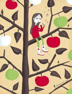 Little girl in apple tree - elise gravel