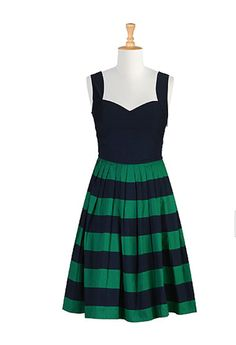 eShakti Her fifties green and blue stripe colorblock dress