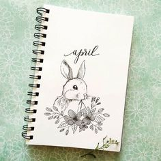 Bullet journal monthly cover page, April cover page, bunny drawing flowers drawing hand lettering. April Bullet Journal, Bullet Journal Monthly Spread, Bullet Journal Cover Page, Bullet Journal Font, Bullet Journal Themes, Journal Covers, Bullet Journal Inspiration, Journal Ideas, Journal Diary