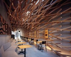 Starbucks in Dazaifu, Japan. Yes, Starbucks. Love the wood baton that seem to be woven. #coffee #retaildesign