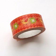 Washi Masking Tape Roll - Orange Birds Masking Tape, Washi Tape, Orange Rolls, Orange Bird, Cuff Bracelets, Birds, Japanese, Paper, Duct Tape