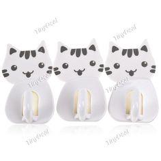 3pcs 1.5kg Bearing Plastic Sticky Pothook Hook Hanger for Home Office - Cute Cat Pattern HHI-165962