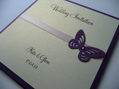Purple, Lilac & Ivory butterfly themed Wedding invitations