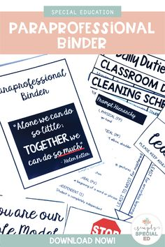 Paraprofessional Binder for the Special Education Classroom Teaching Life Skills, First Year Teaching, Teaching Special Education, Survival Kit For Teachers, New Teachers, Teacher Tips, Teacher Stuff, Student Binders, Student Info