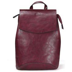 Yoins Burgundy Structured Backpack (130 MYR) ❤ liked on Polyvore featuring bags, backpacks, backpack, yoins, black, handbags, black backpack, structured bag, burgundy bag and black bag